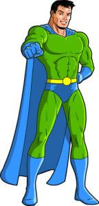 super hero green blue