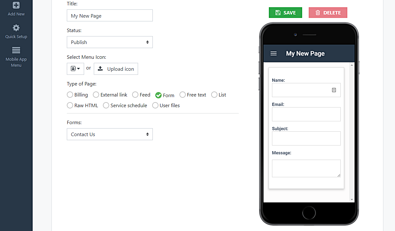 add form to mobile app page