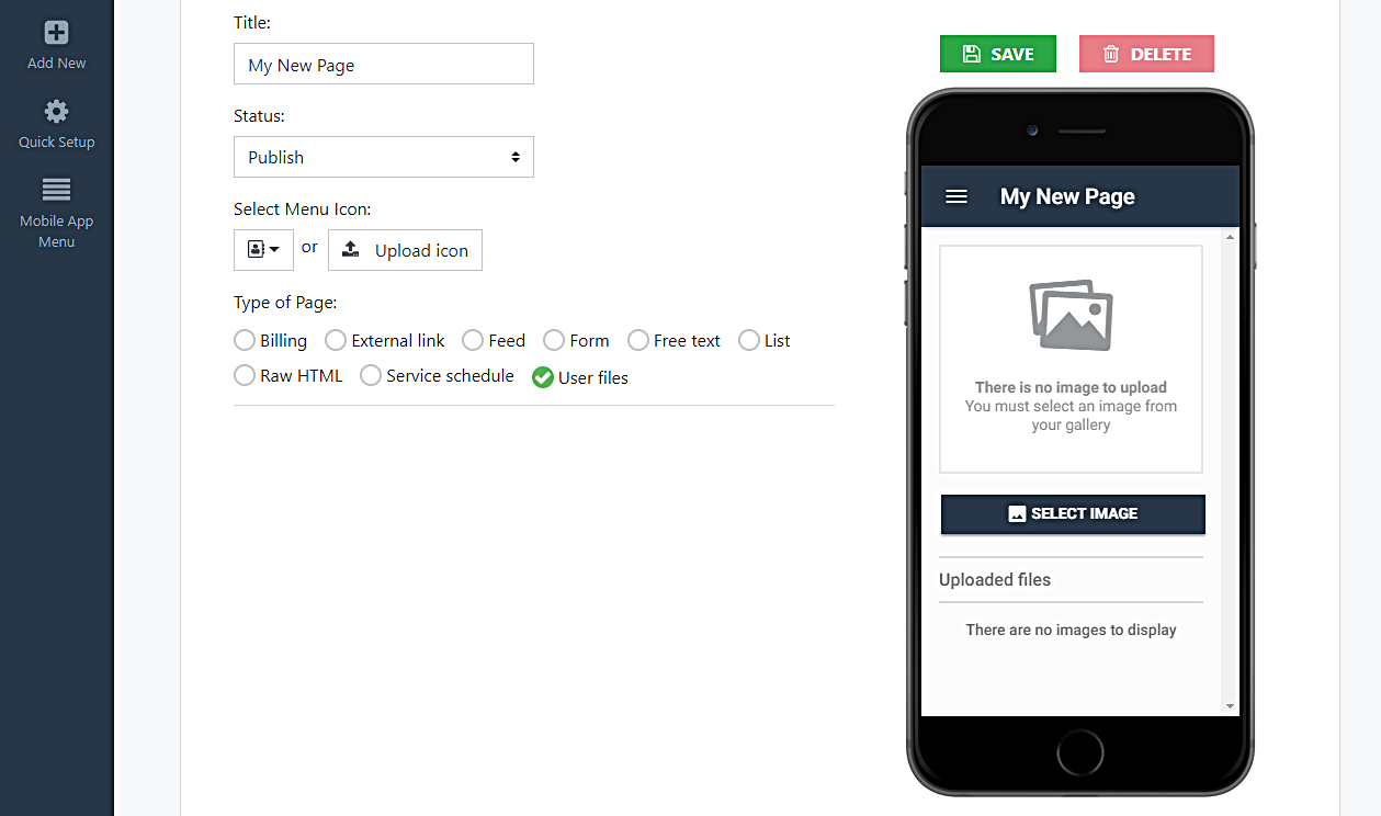 user files mobile app page