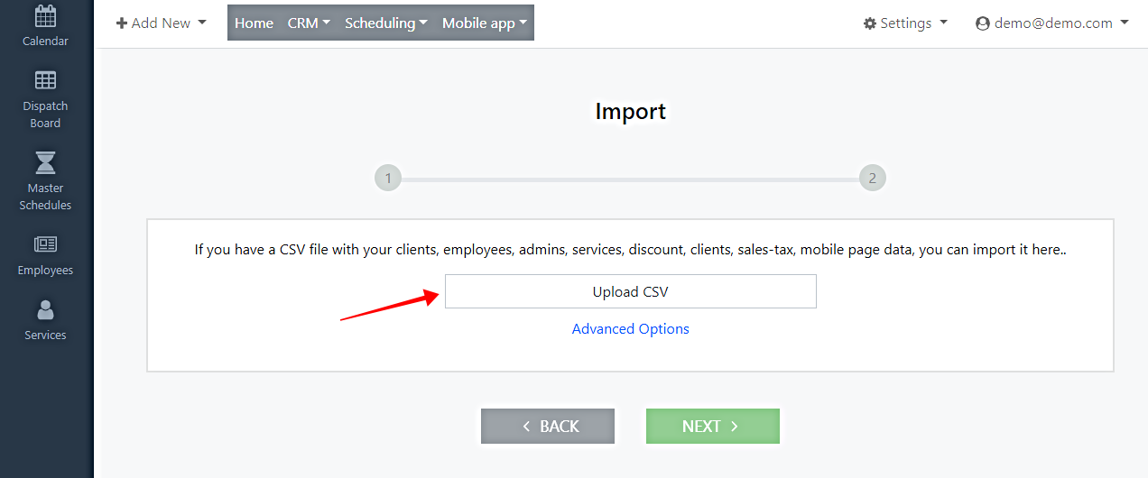 local service hero import csv file